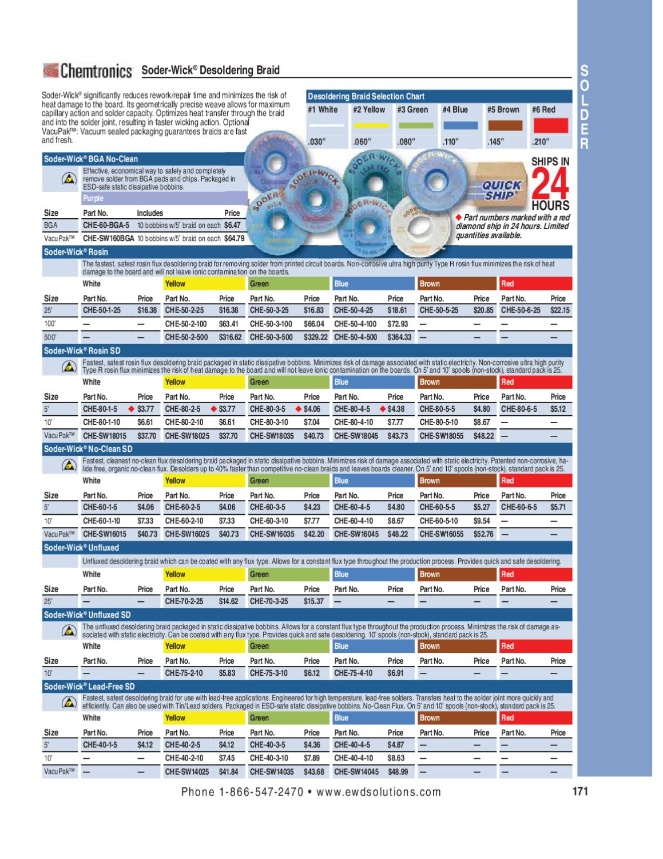 5 Pack Chemtronics 60-3-5 Soder-Wick No Clean SD Desoldering Braid