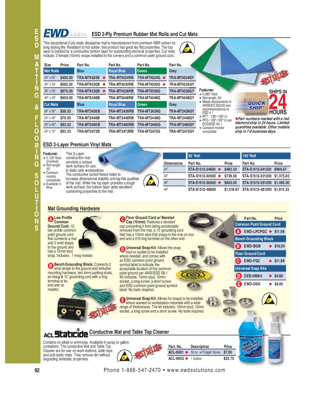 "2 LAYER RUBBER ANTI-STATIC ESD MAT kit W//Dual Bench Ground//Wrist Strap-30/""X60/"""