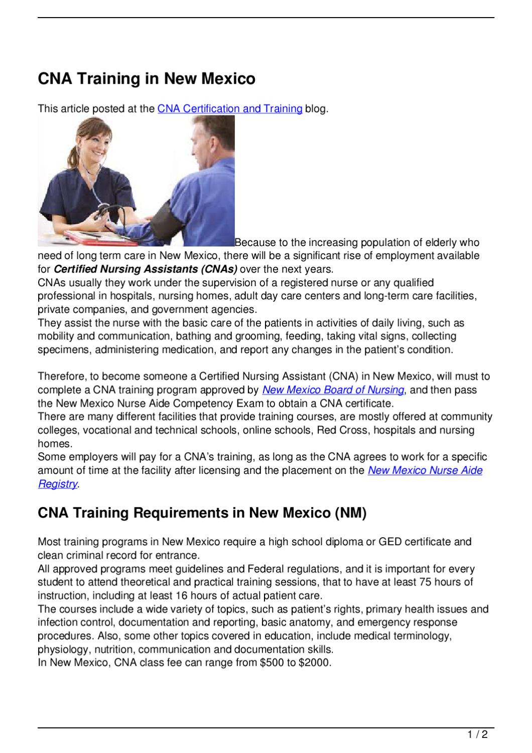 Cna training in new mexico by becky vallejo issuu 1betcityfo Choice Image