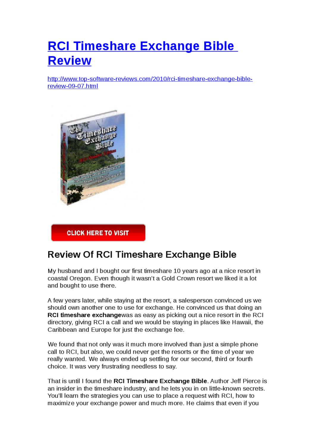 RCI Timeshare Exchange Bible Review by Yongqiang Xie  Issuu