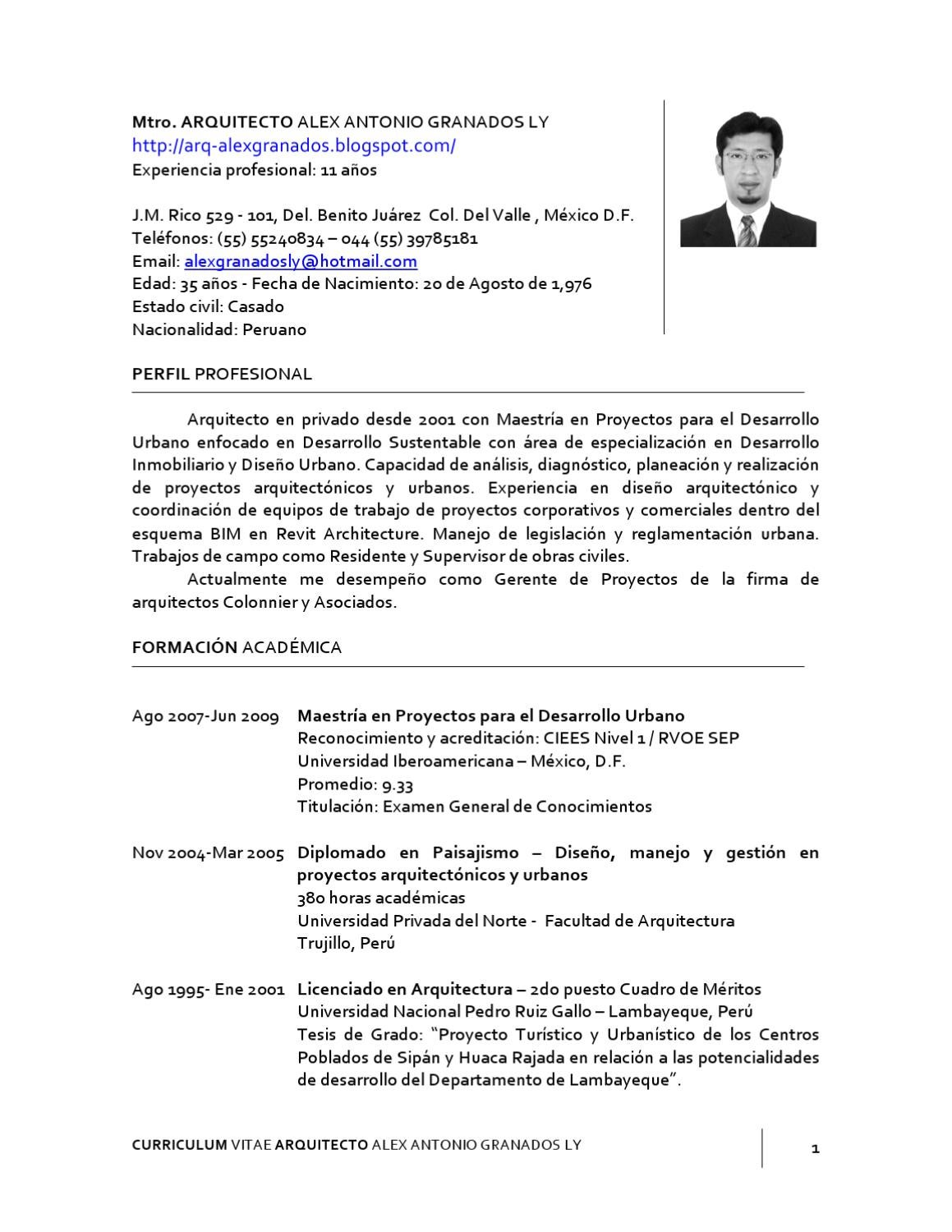 CURRICULUM VITAE by Alex Antonio Granados Ly - issuu
