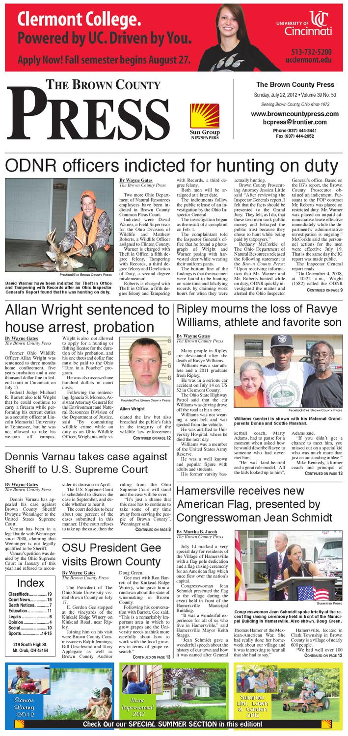 Ohio brown county sardinia - The Brown County Press July 22 2012 By Clermont Sun Publishing Company Issuu