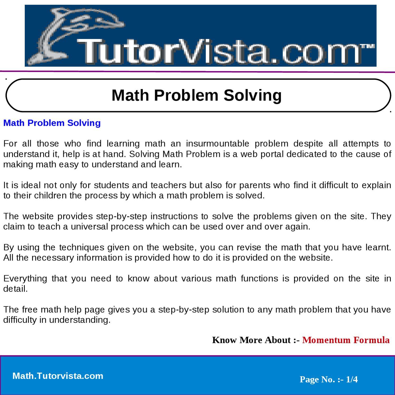 Math Problem Solving by tutorvista team - issuu