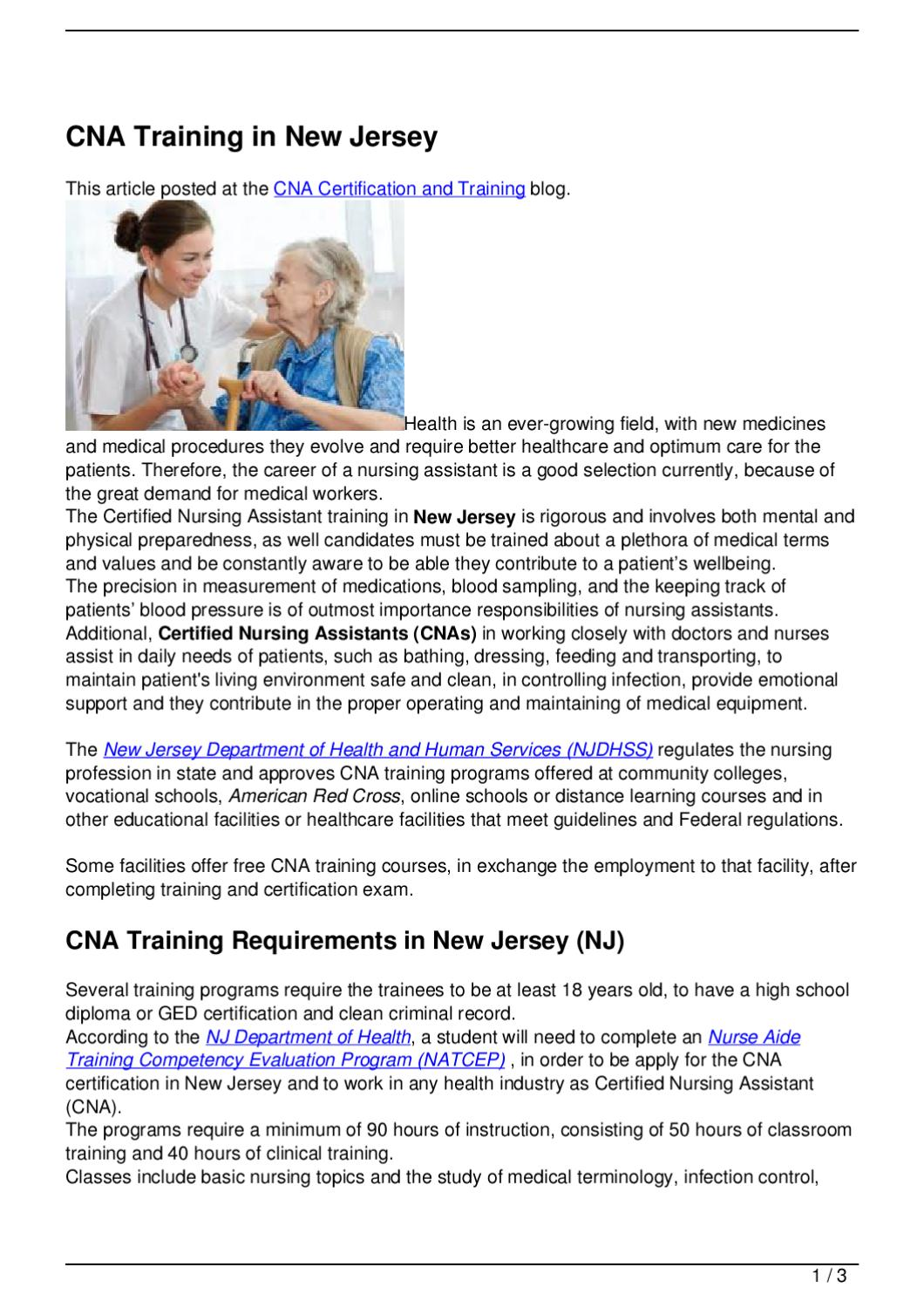 Cna Training In New Jersey By Becky Vallejo Issuu