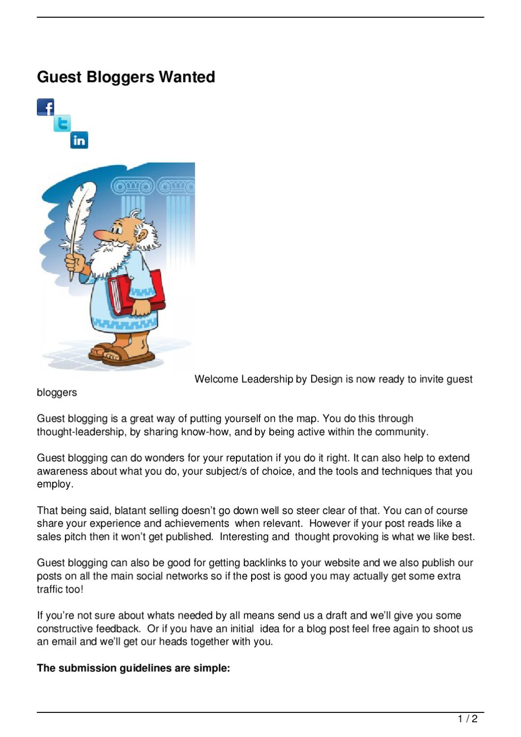 Guest Bloggers Wanted by Leaership By Design - issuu