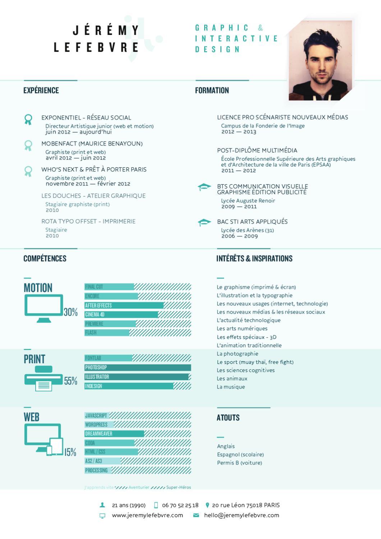 cv designer graphique  u0026 interactif by jeremy lefebvre