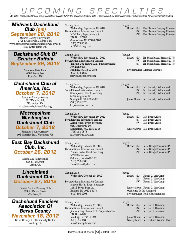 Dachshund Club Of America Summer 2012