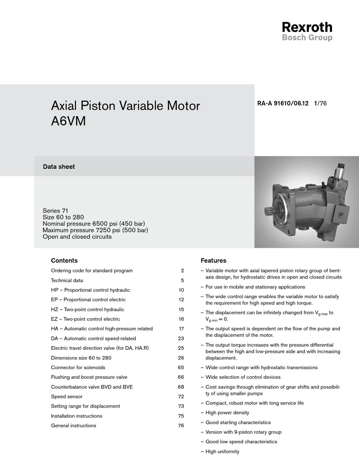 specifications rexroth axial piston variable motor a6vm serie 7 1 by rh issuu com Yamaha Service Manuals PDF Truck Manual
