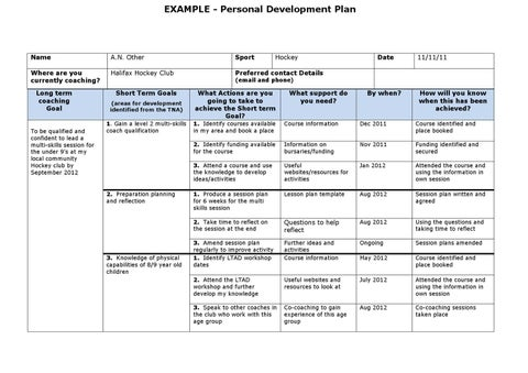 EXAMPLE   Personal Development Plan  Pdp Plan Example