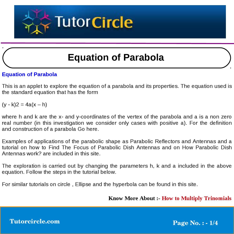 Equation of parabola by yatendra parashar issuu falaconquin