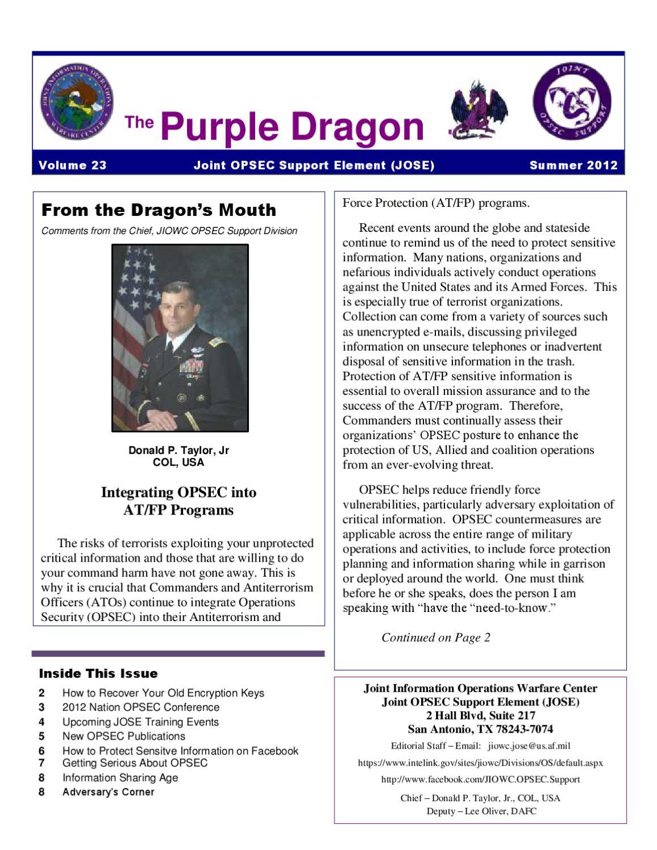 Jiowcos Purple Dragon Newsletter Summer 2012 By Troy Richardson Issuu