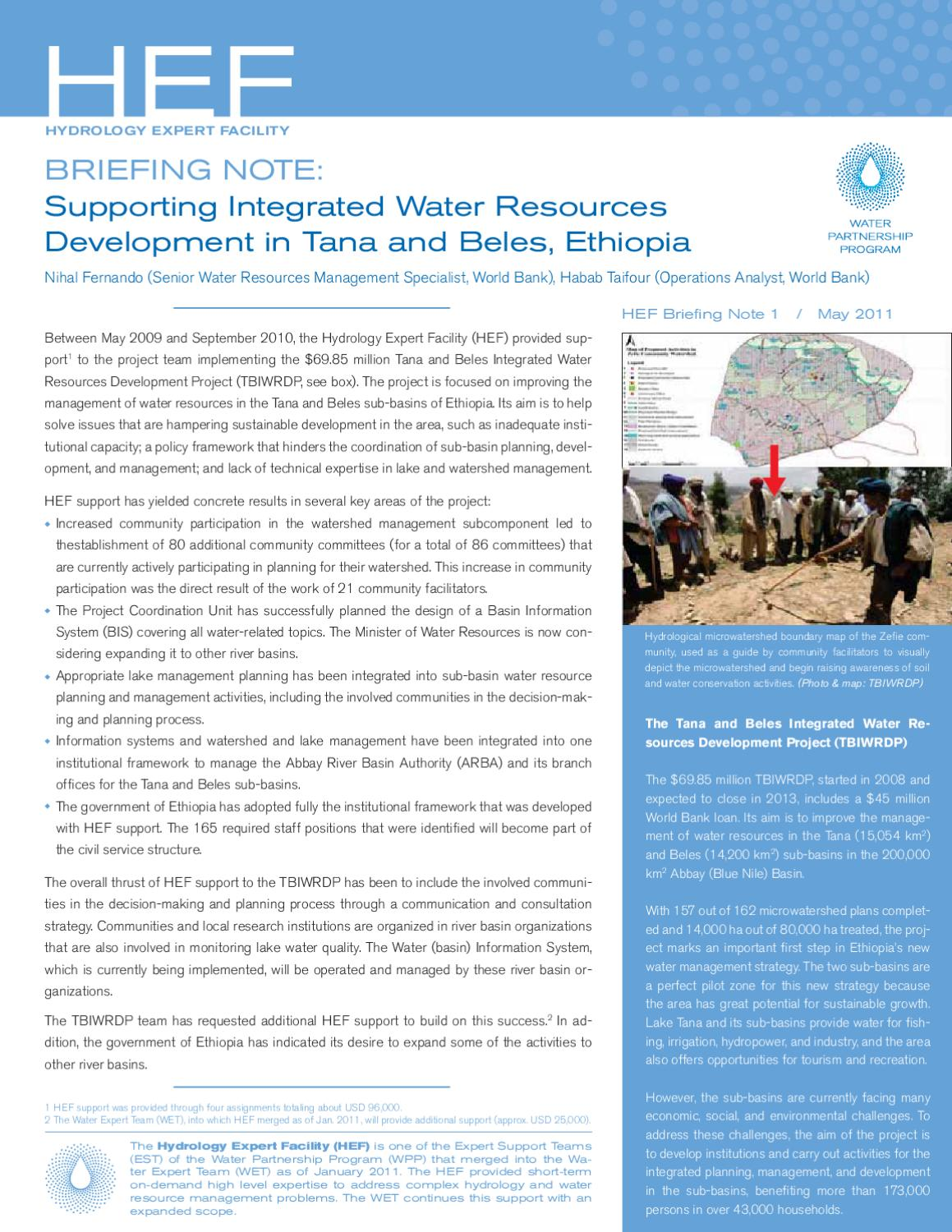 Supporting Integrated Water Resources Development in Tana