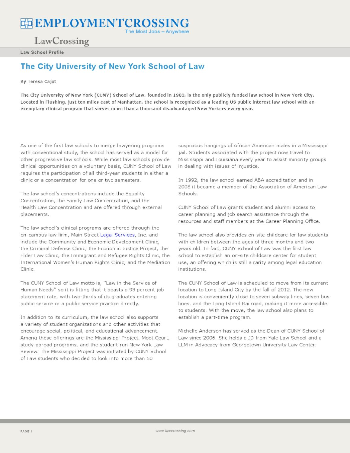 The City University of New York School of Law by LawCrossing