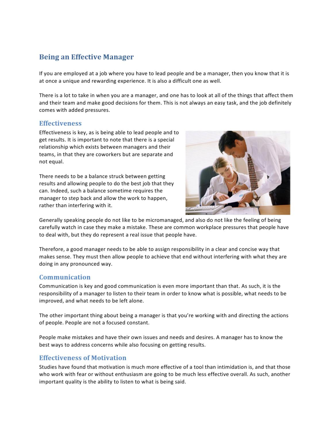 Being an Effective Manager by Darrel Jefferson - issuu