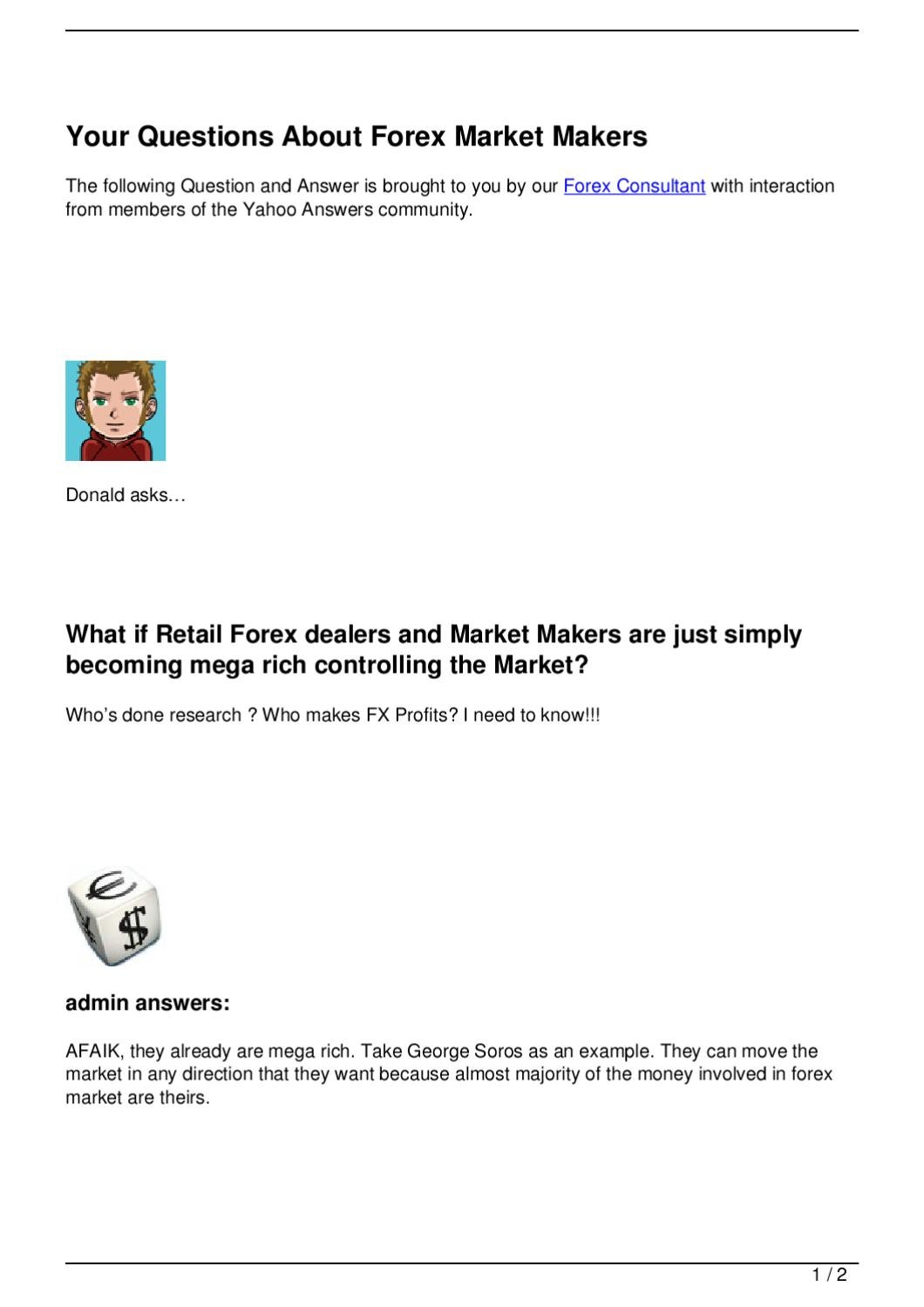Forex market questions and answers