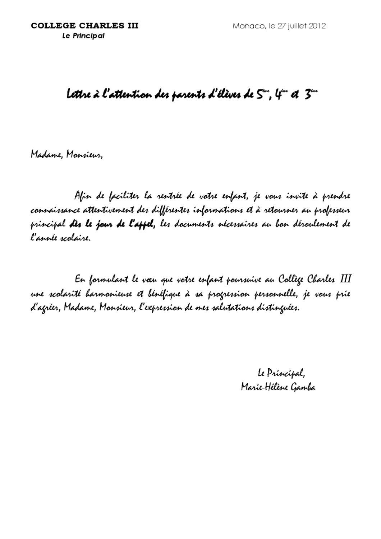 Dossier De Rentree Pour Les Classes De 5 4 Et 3 By Charles Trois
