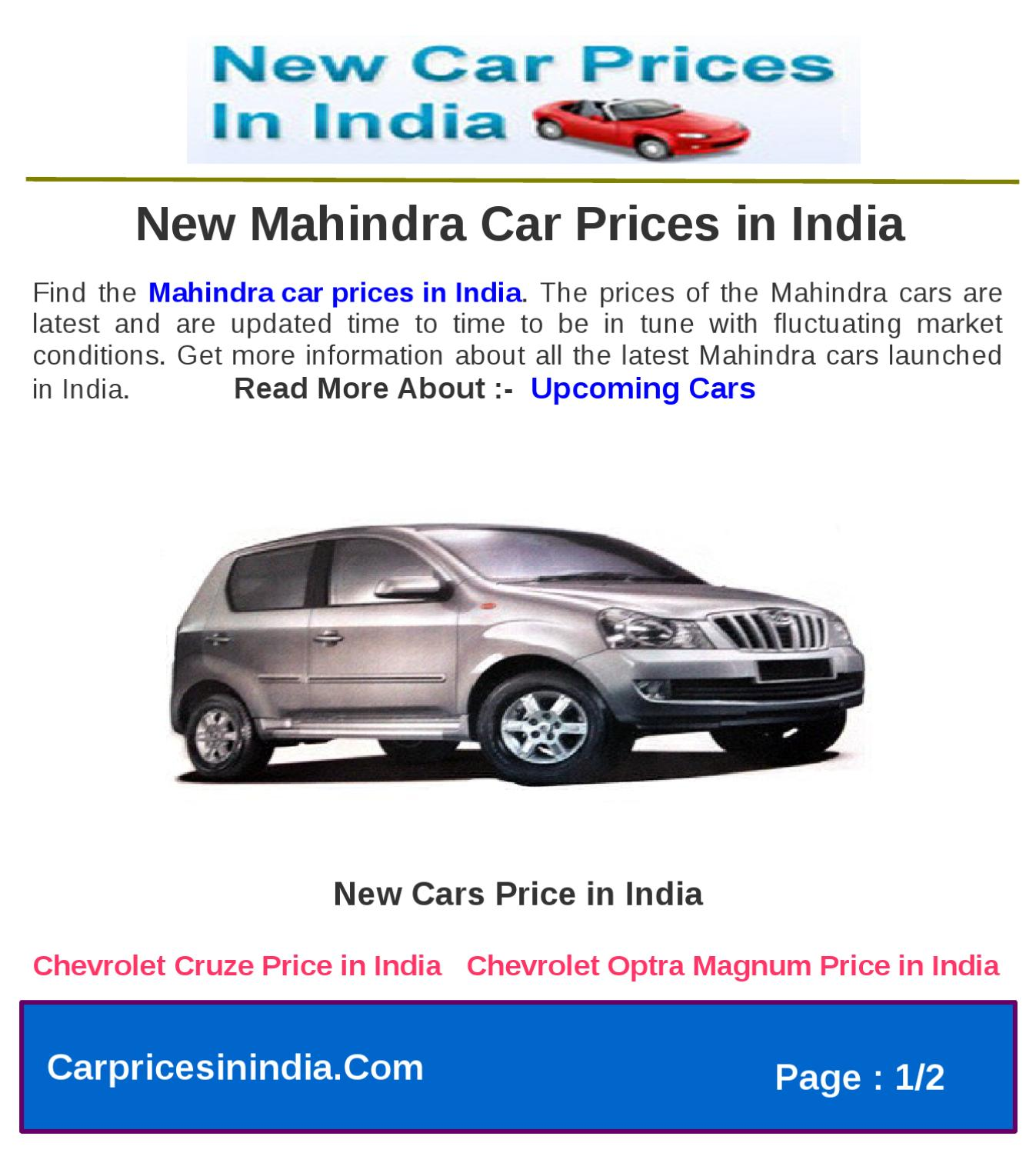 New Mahindra Car Prices In India By Microsite Team Issuu
