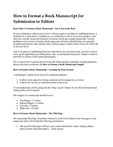 How To Format A Book Manuscript For Submission To Editors By