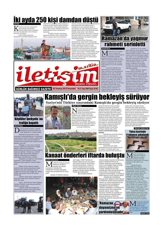 26 Temmuz 2012 Persembe Gazete Sayfalari By Mardin Iletisim