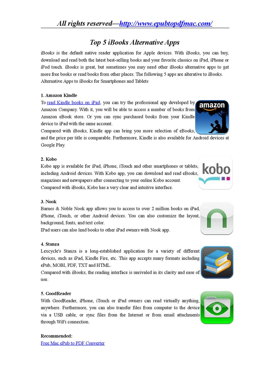 iBooks Alternative Apps for iPad, iPhone, iTouch, and Android by
