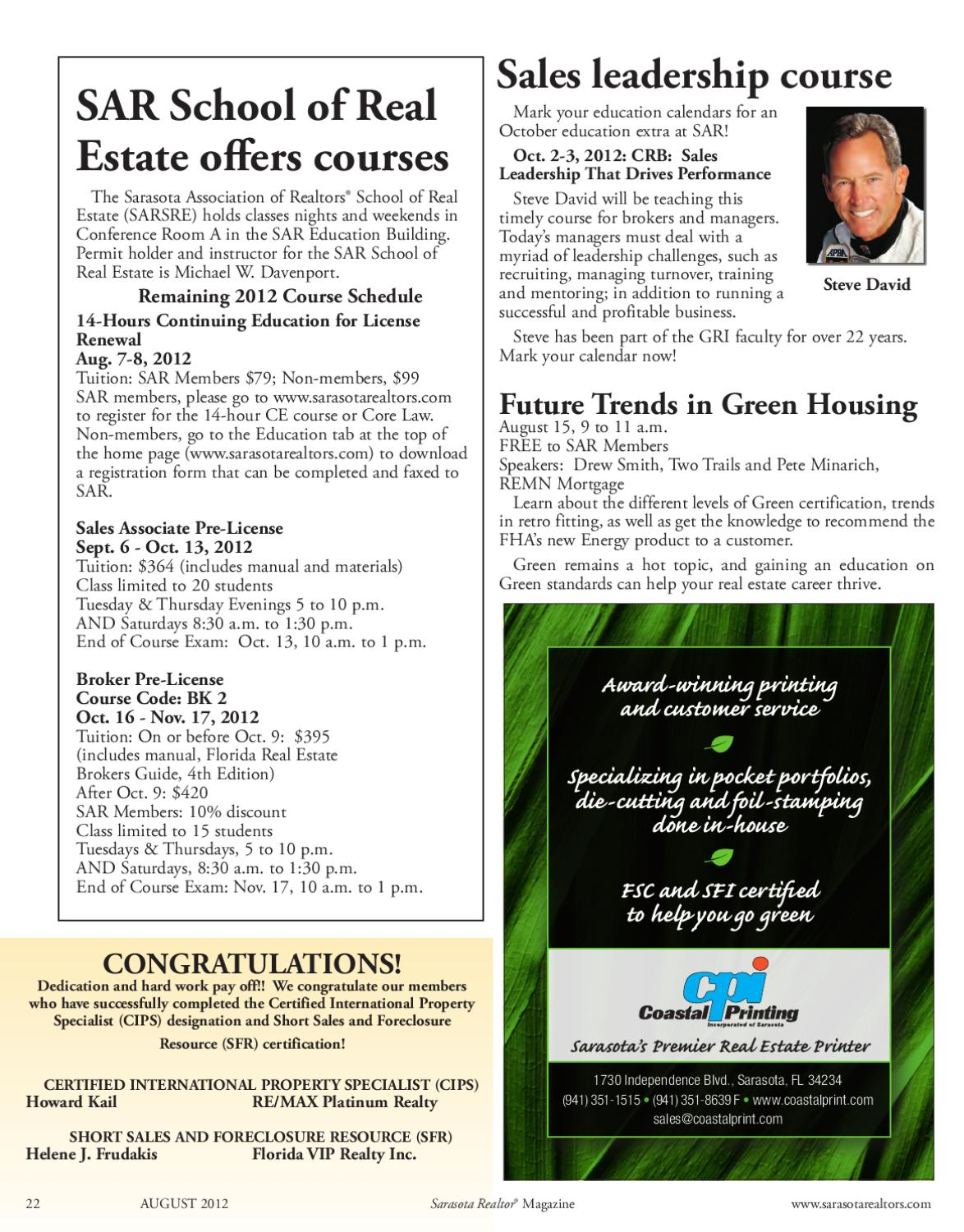 Sarasota Realtor Magazine August 2012 by Realtor Association