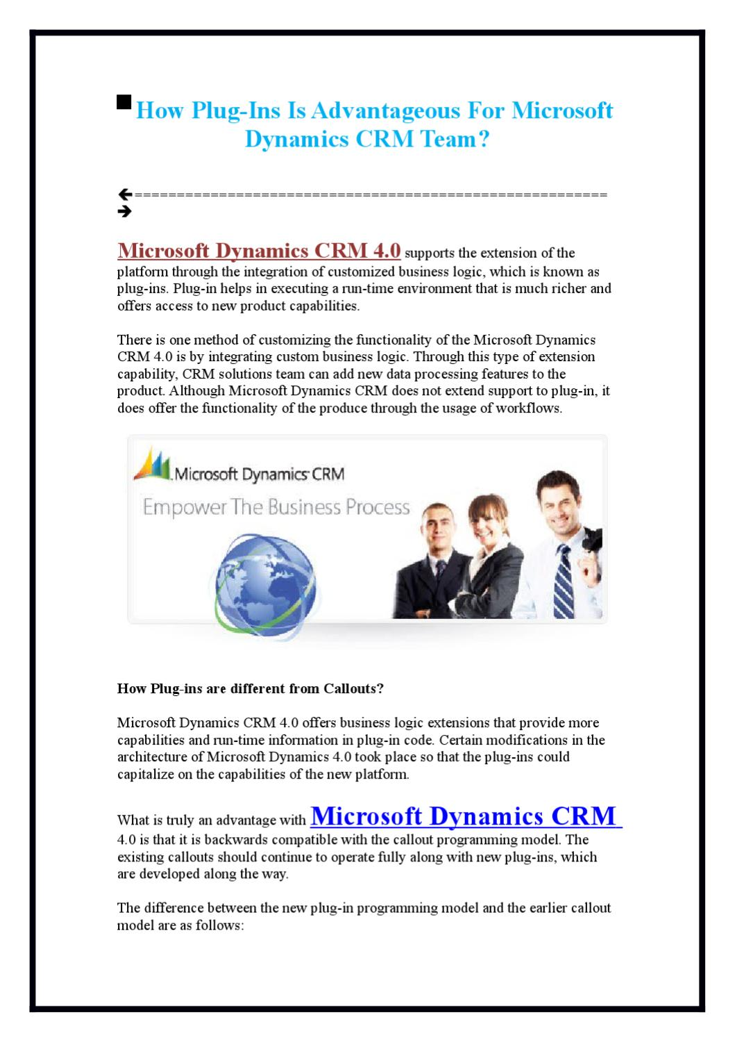 How Plug-Ins Is Advantageous For Microsoft Dynamics CRM Team? by