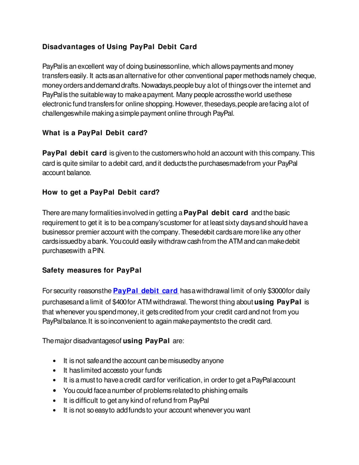 Disadvantages of Using PayPal Debit Card by Marriya Luis - issuu