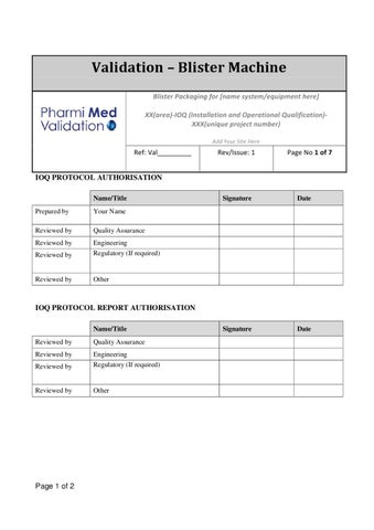 equipment installation qualification template - blister machine ioq template without vision system