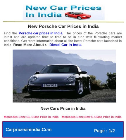 New Porsche Car Prices In India By Microsite Team Issuu