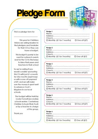 Pledge Form By Louise Funnell  Issuu