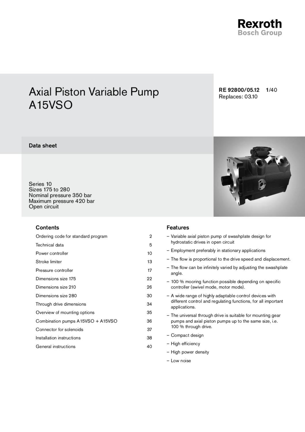 Specifications Rexroth Variable Axial Piston Pump A15VSO by
