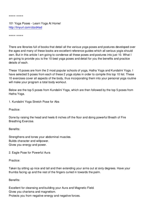 10 Best Hatha and Kundalini Yoga Poses by alayoua mbark - issuu