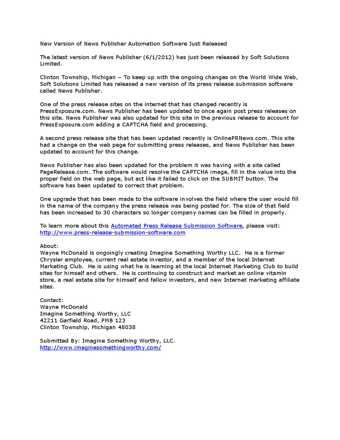 Press Release Submission Software by Wayne McDonald - issuu