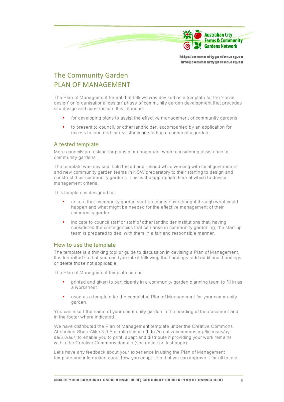 Community Garden management plan template by Community ...