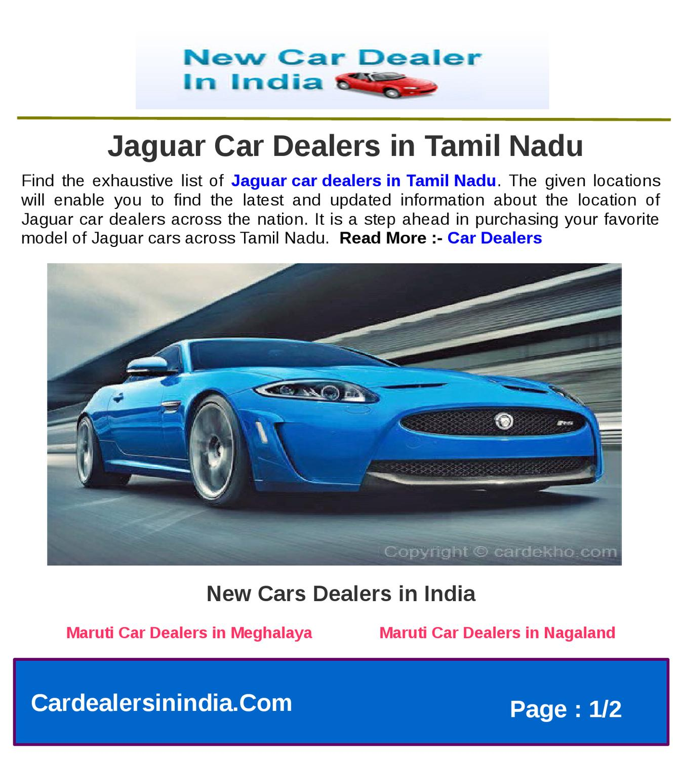Jaguar Dealer Parts: Jaguar Car Dealers In Tamil Nadu By Microsite Team