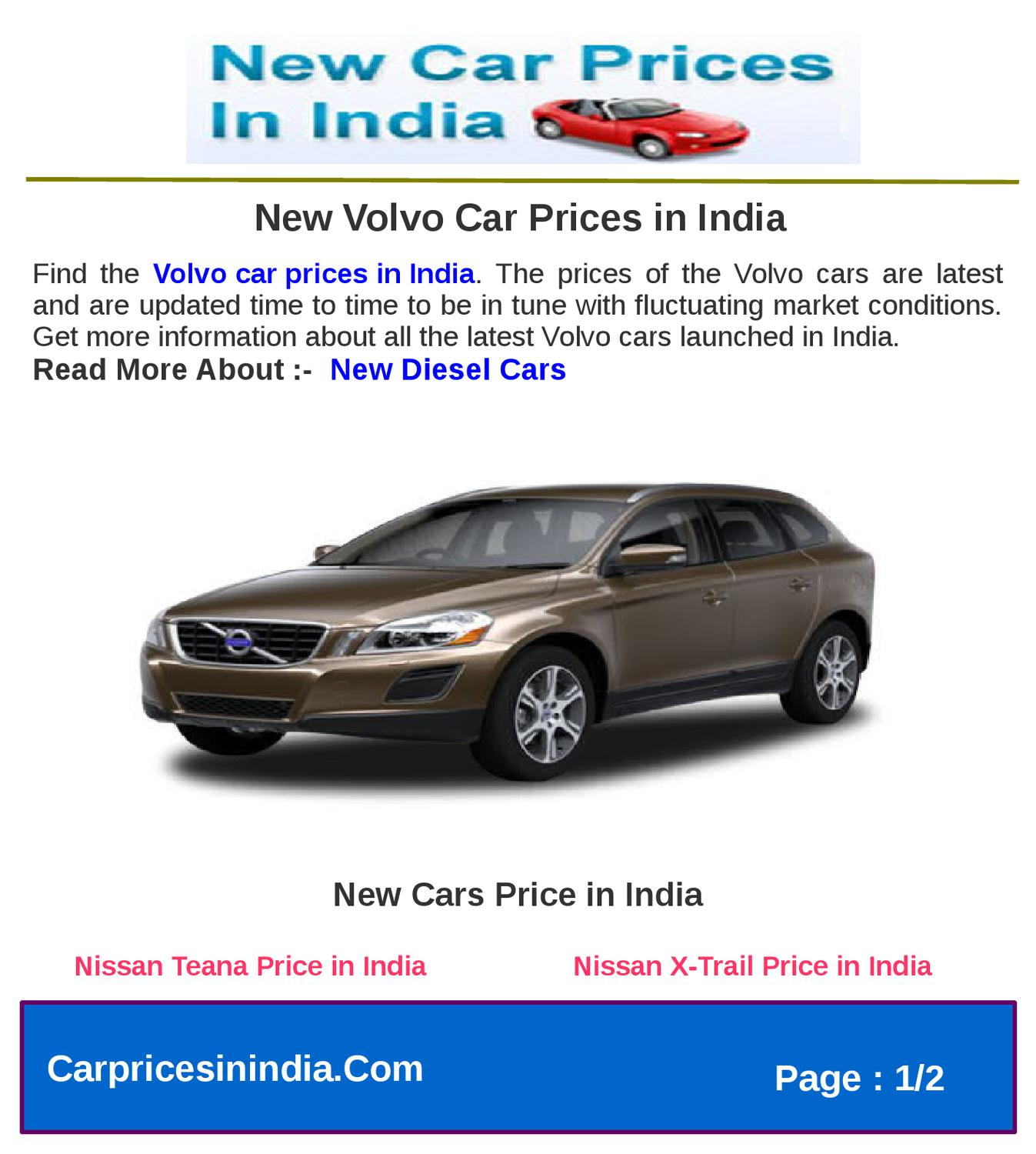 New Volvo Car Prices In India By Microsite Team Issuu