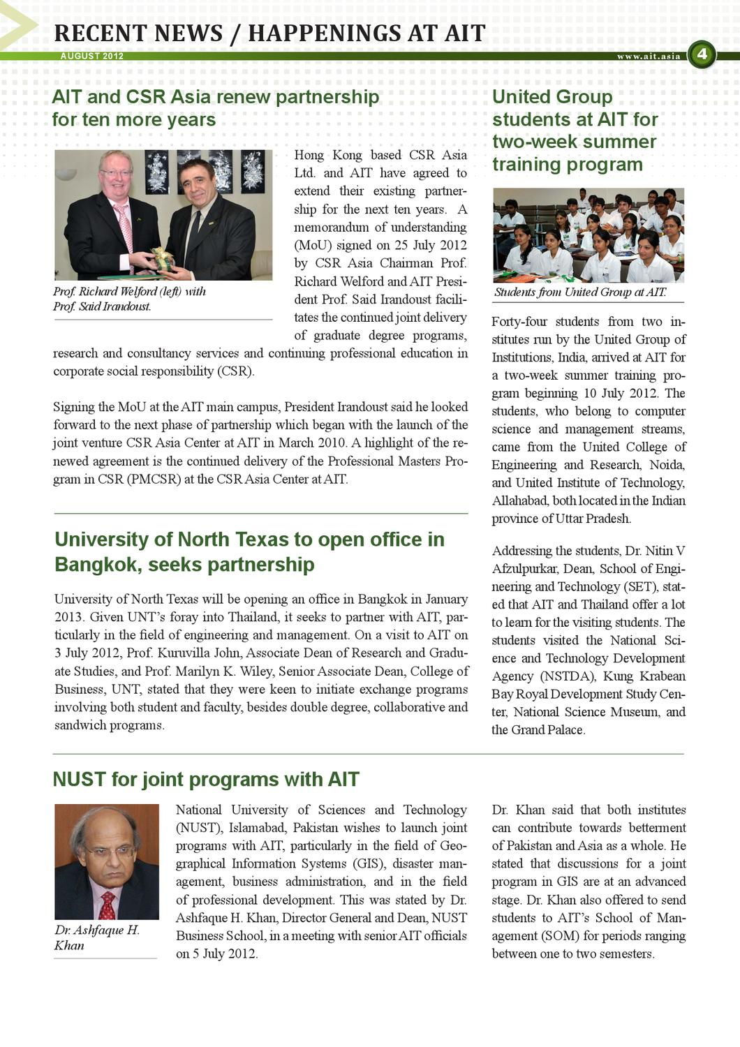 AIT Newsletter August 2012 by MCU AIT - issuu