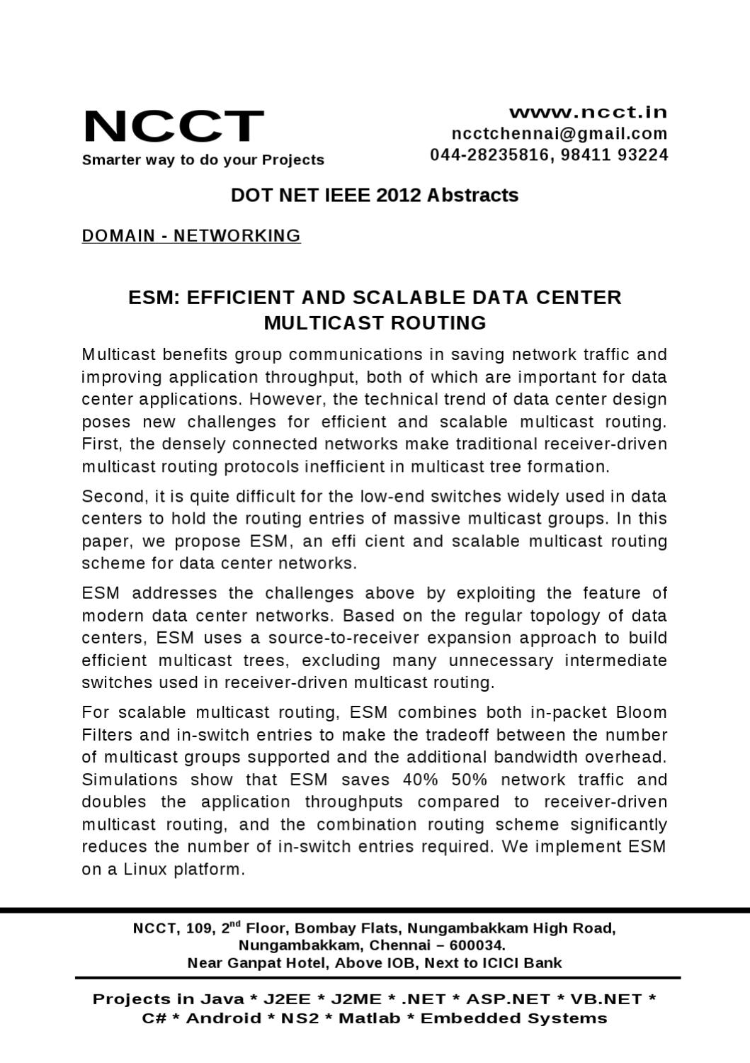 Dot NET-Networking -- ESM EFFICIENT AND SCALABLE DATA CENTER