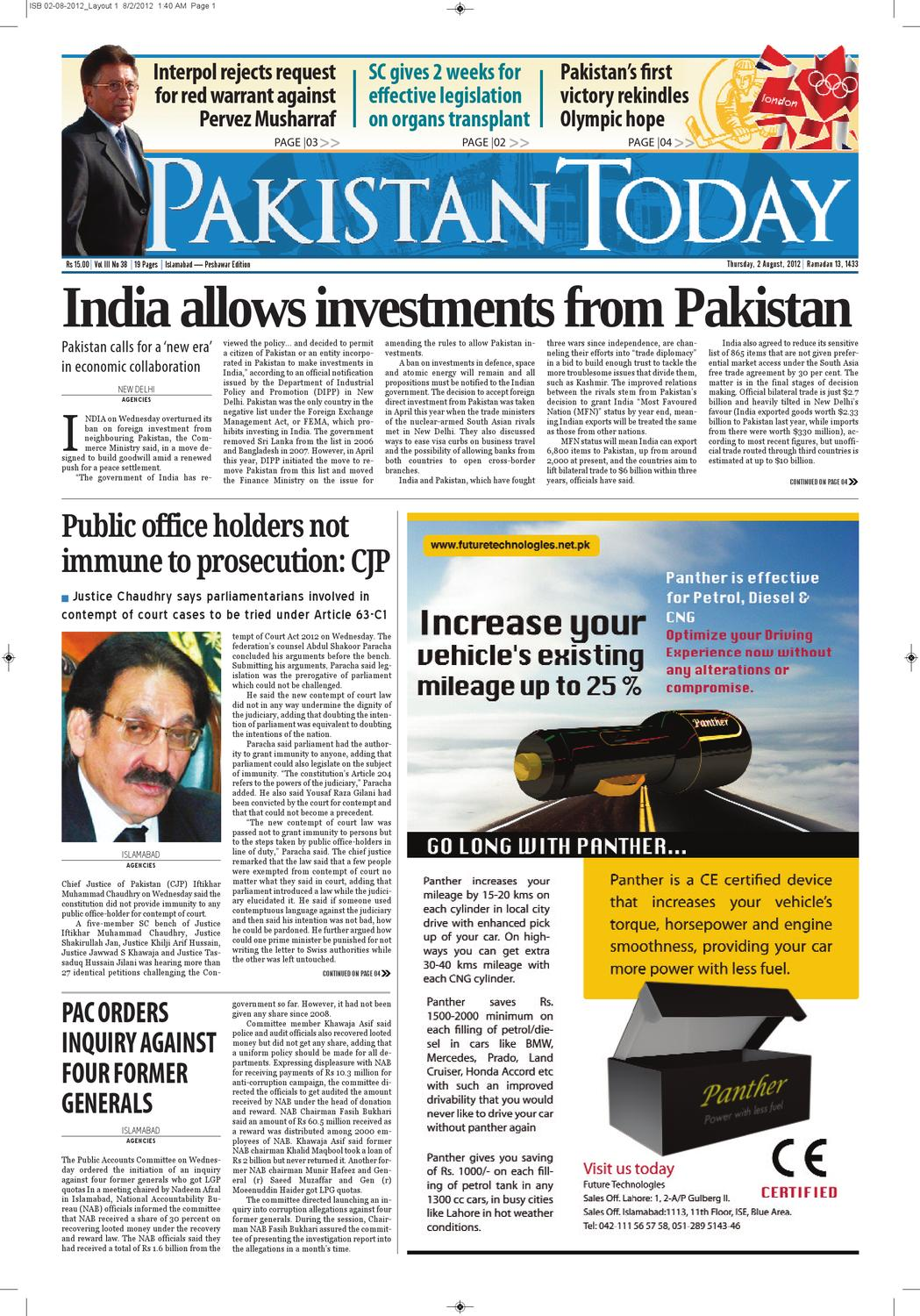 e-paper pakistantoday 02nd august, 2012 by Pakistan Today