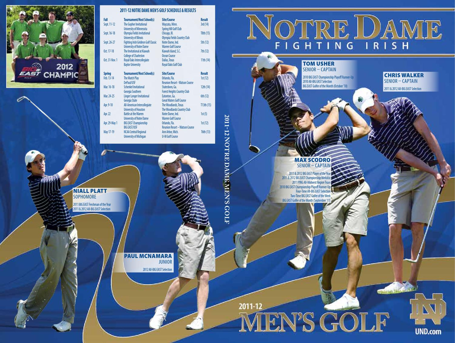 2011 12 university of notre dame men u0027s golf media guide by chris