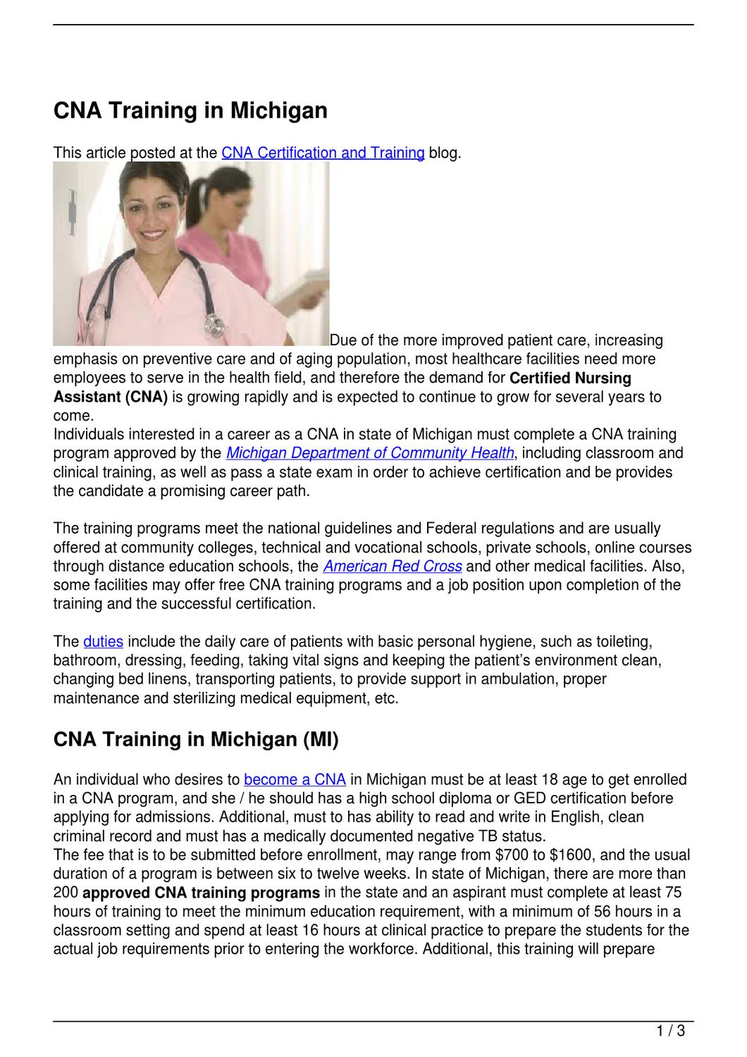 Cna Training In Michigan By Becky Vallejo Issuu