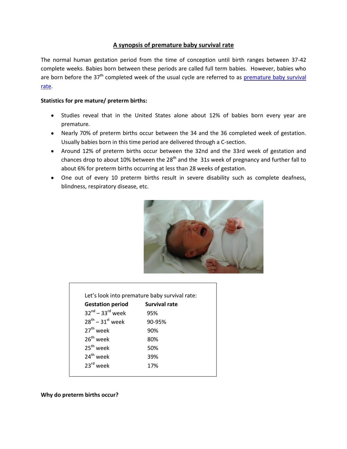 Baby Born At 20 Weeks Survival Rate: A Synopsis Of Premature Baby Survival Rate By Sopretty In