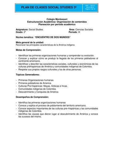 Plan de Clase - Social Studies by Liliana Miranda - issuu