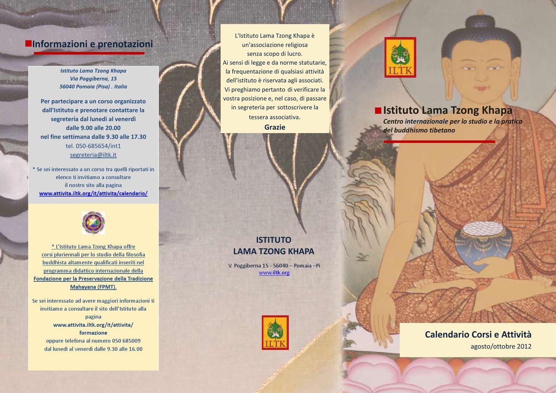 Iltk Calendario.Calendario Corsi Attivita Ago Ott By Istituto Khapa Issuu