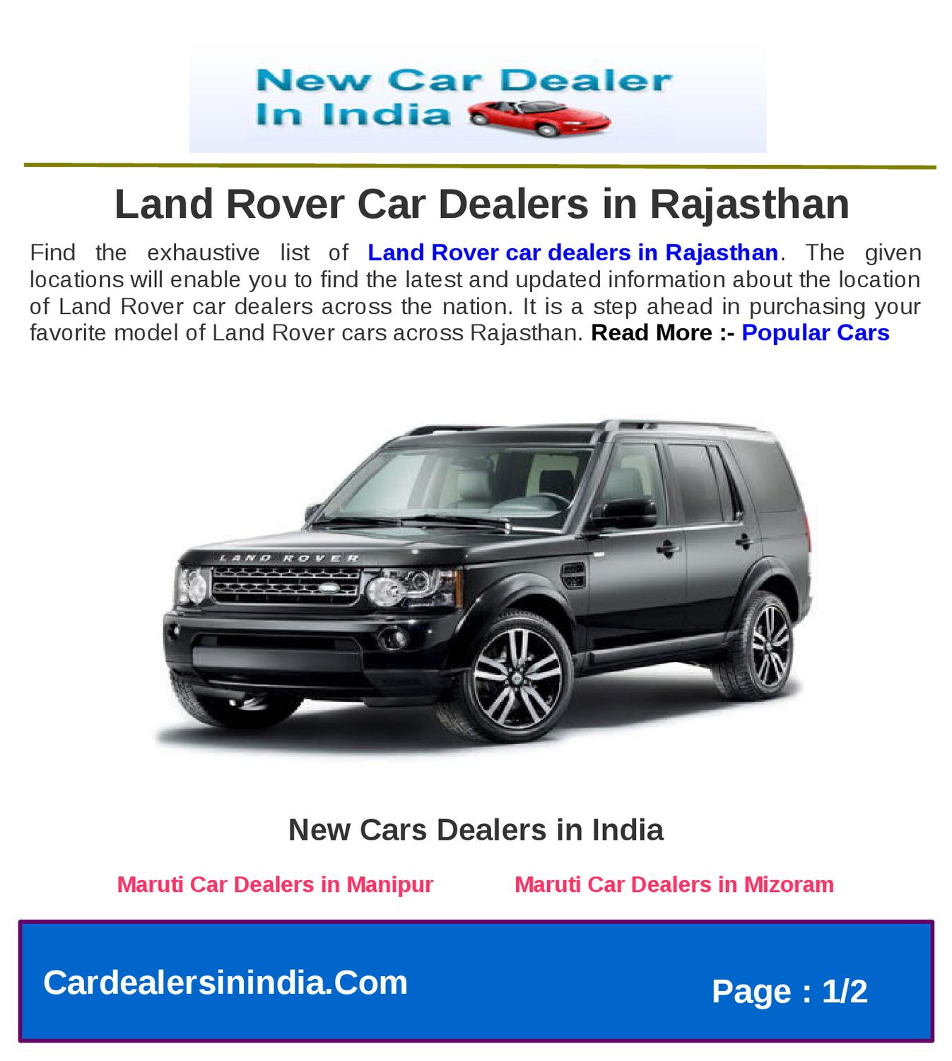 Land Rover Car Dealers In Rajasthan By Microsite Team