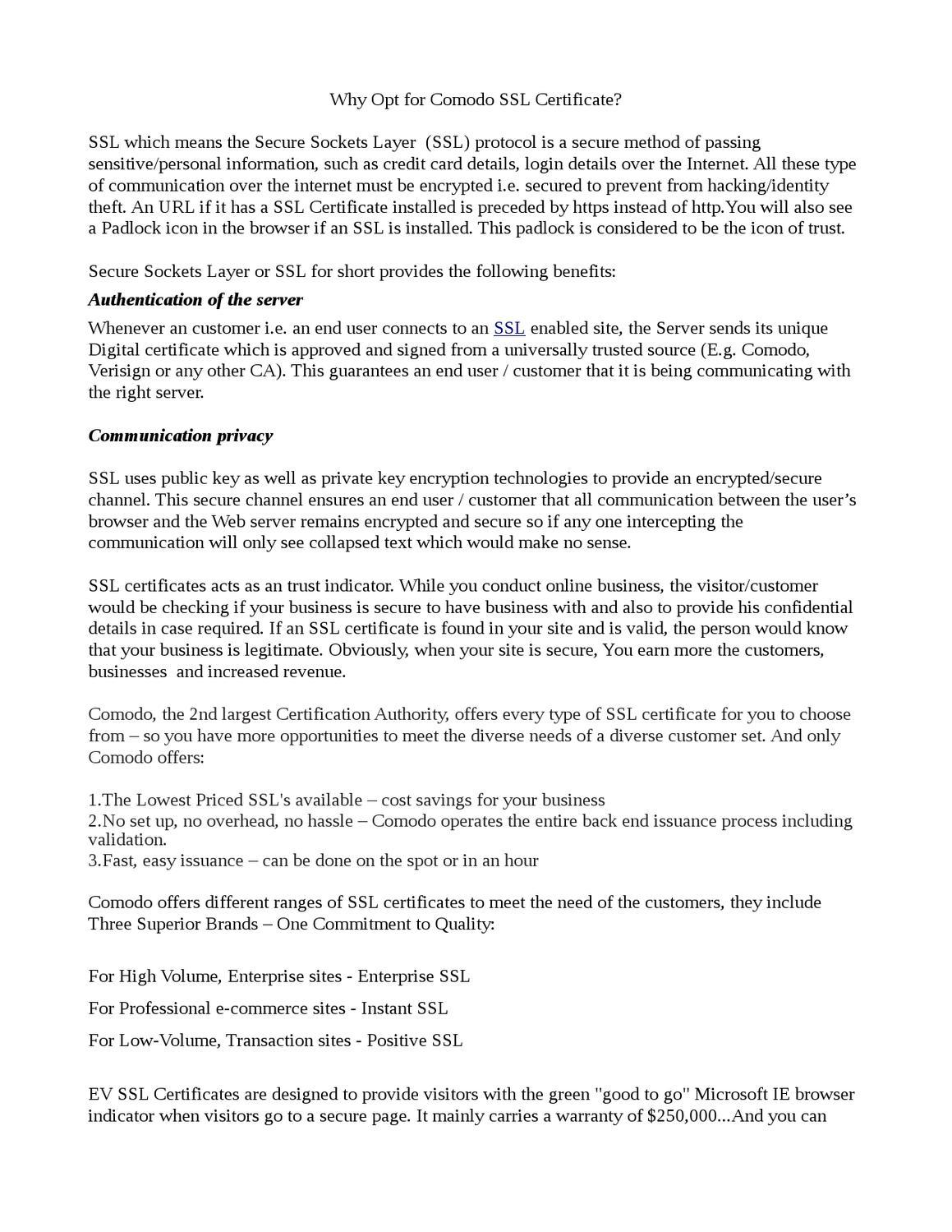 Why opt for comodo ssl certificate by carolina rio issuu xflitez Choice Image