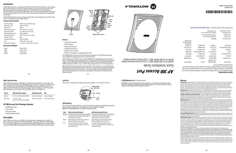 Lot of 11 Symbol WSAP-5110-100-WW AP300 Internal Antenna Wireless Access Point