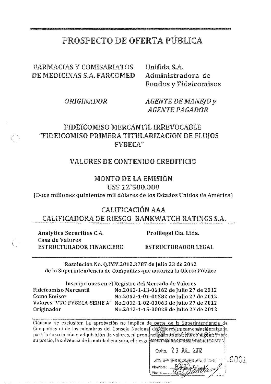 Prospecto Titularizacion Farcomed by Bolsa de Valores de Quito - issuu