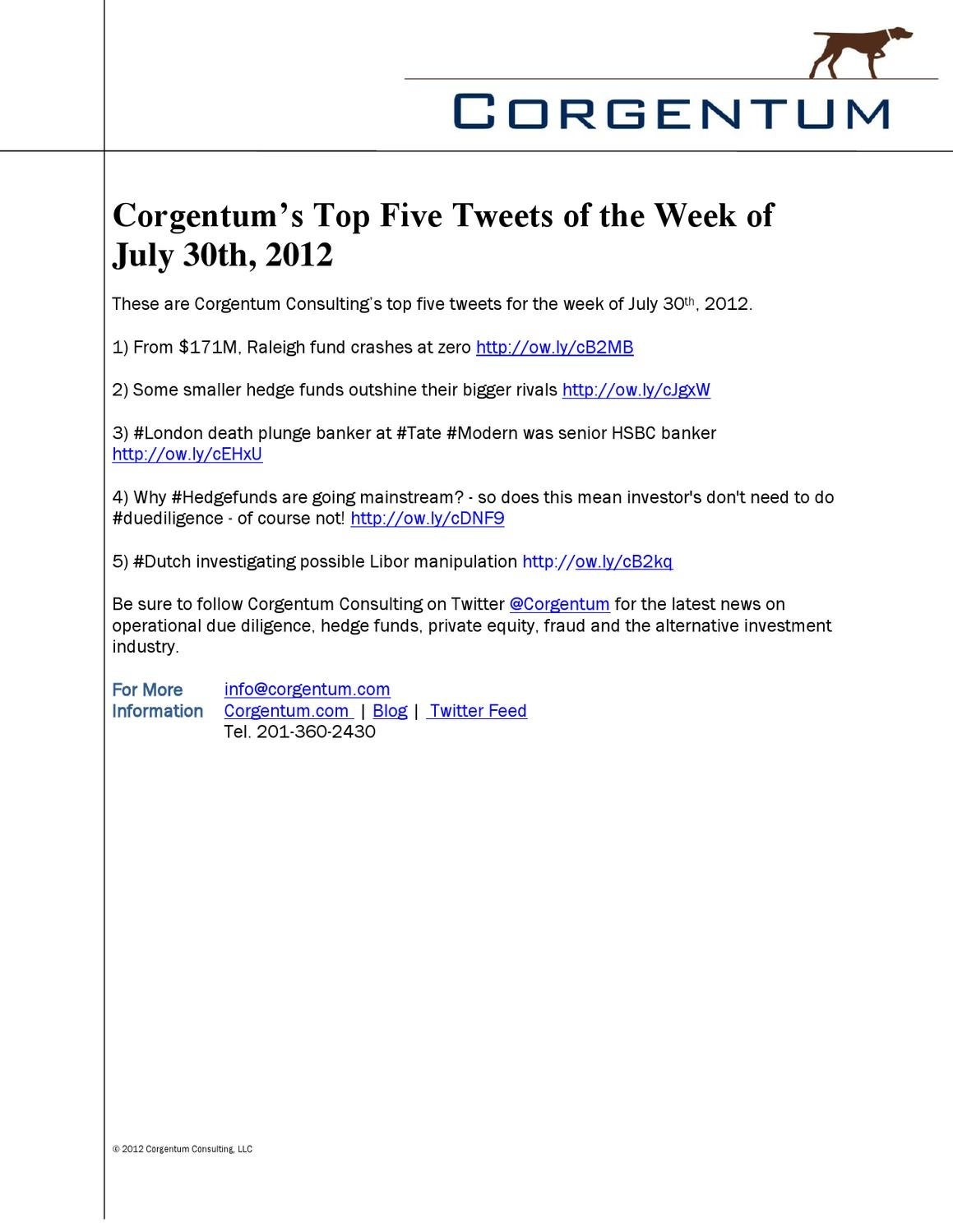 Corgentum's Top 5 Tweets- Week of July 30, 2012 by Corgentum