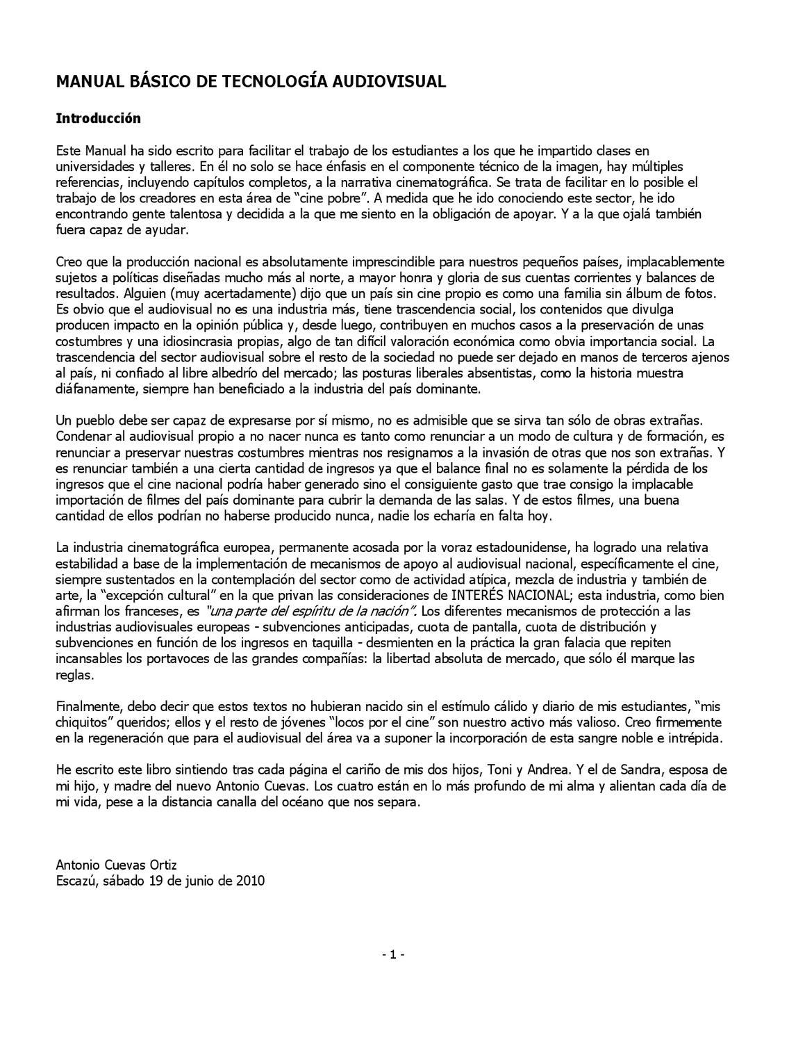 Introducción Manual Básico de Técnología Audiovisual by Centro  Costarricense de Producción Cinematográfica - issuu